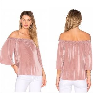 Anthropologie JOA Blush Pink Pleated Blouse